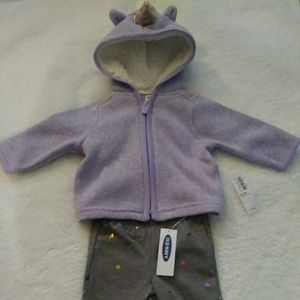 Old Navy Baby Girl Unicorn Hoodie Outfit #0146